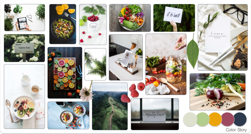 Crop to Table Mood Board with various images of vibrantly colored foods, fruits, veggies, as well as very clean and minimal technology intermixed with cooking items, cookware, utensils, and prepared meals.