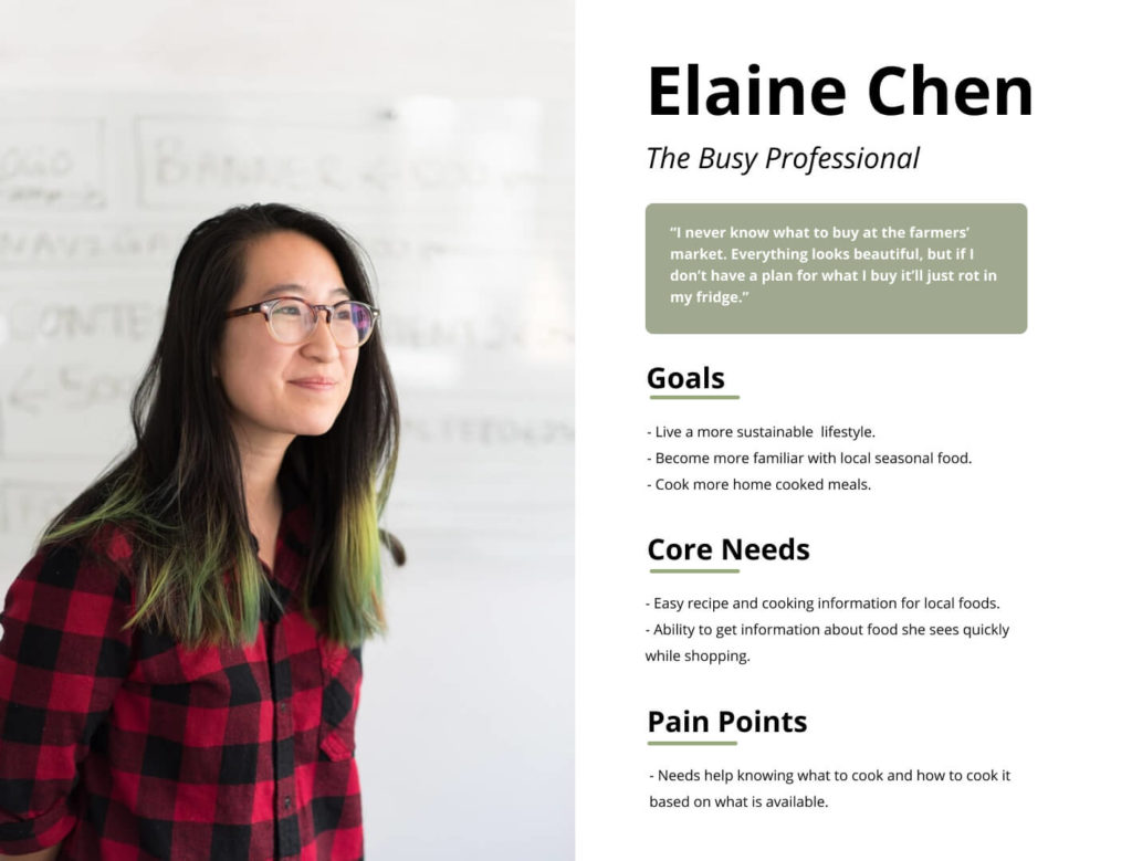 Persona image for Elaine Chen, the busy professional listing her goals to live a more sustainable lifestyle, become more familiar with seasonal local food, cook more at home. Also listing Elaine's core needs such as easy recipe and cooking information, and the ability to get info about food she sees quickly while shopping. Her pain points are needing help knowing what to cook and how to cook it based on what is available.