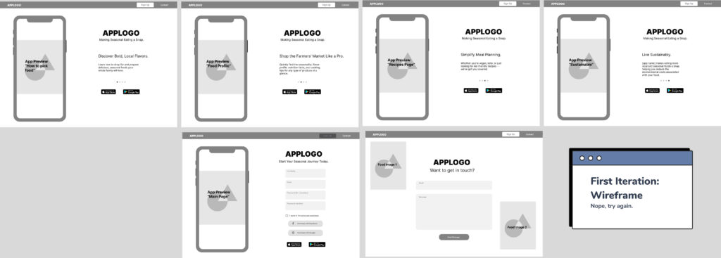 Layout of the first iteration wireframe of the landing page design for Crop to Table
