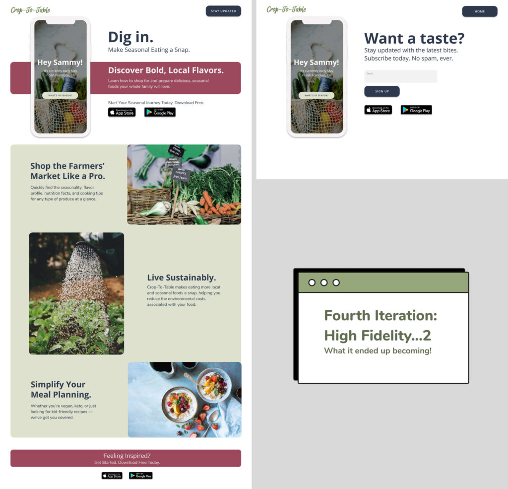 Layout of the fourth High Fidelity iteration of the landing page design for Crop to Table