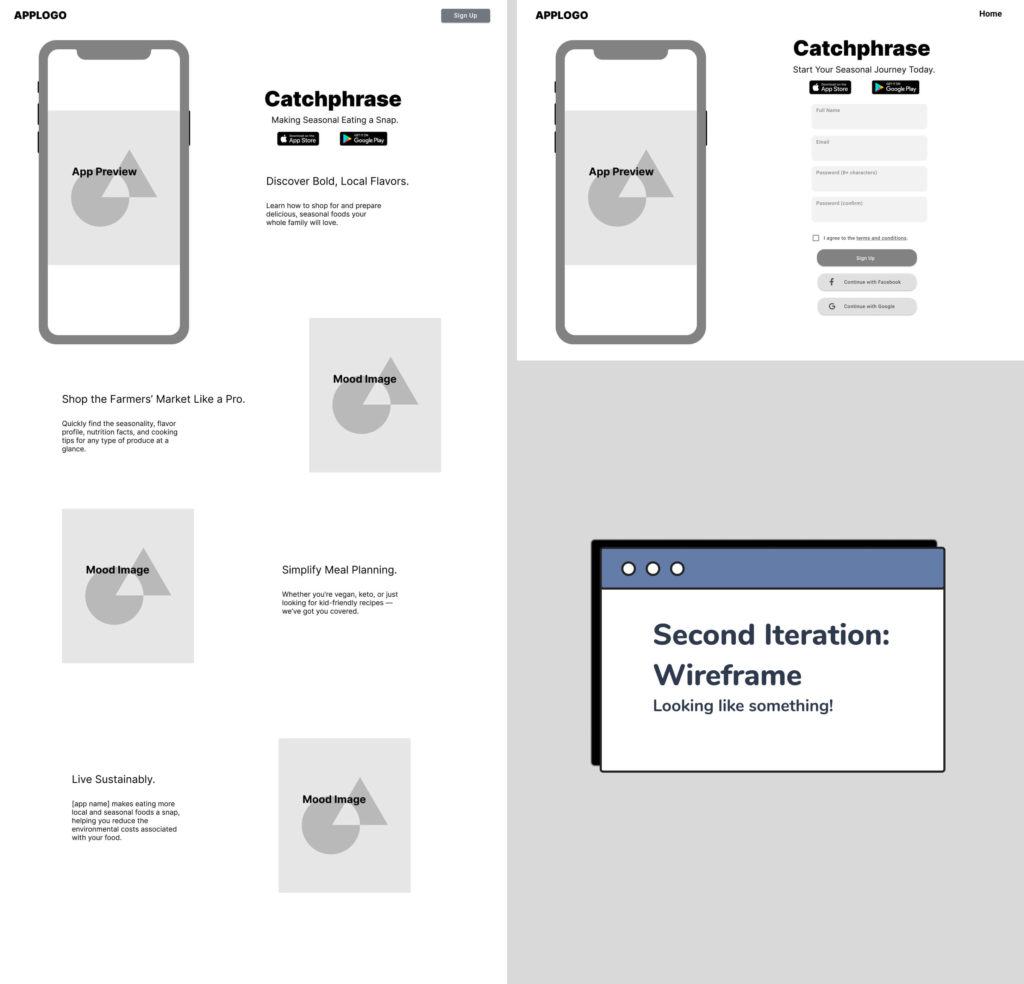 Layout of the second iteration wireframe of the landing page design for Crop to Table