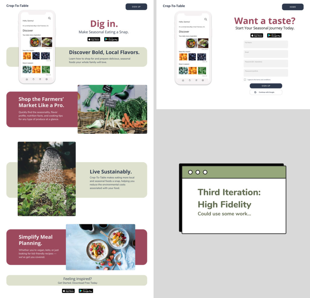 Layout of the Third High Fidelity iteration of the landing page design for Crop to Table