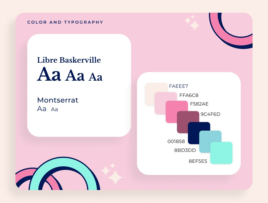 Color and Typography, Libre Baskerville and Montserrat, color palette that is vibrant and pop