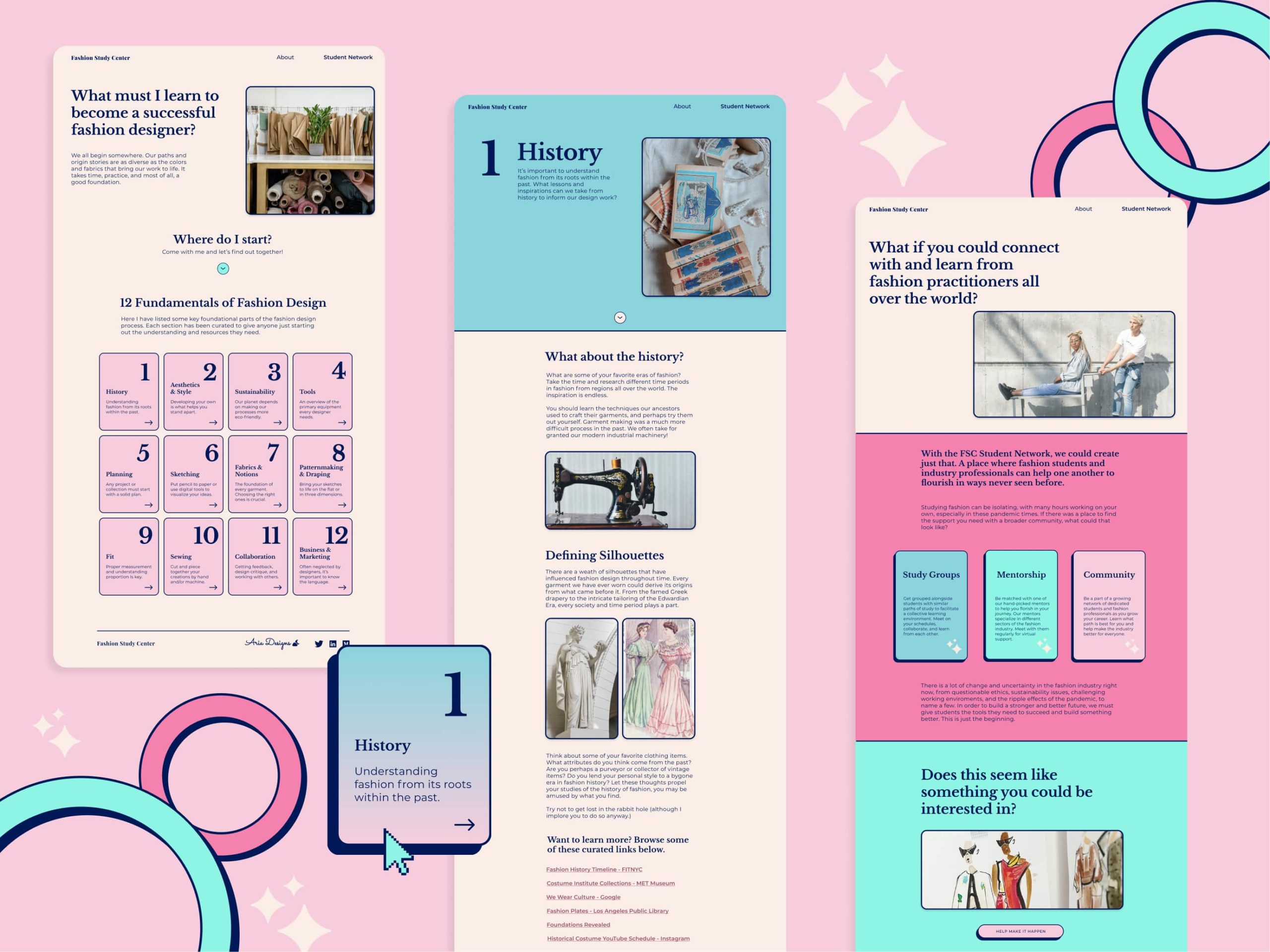 Dynamic display image of the main pages of the Fashion Study Center