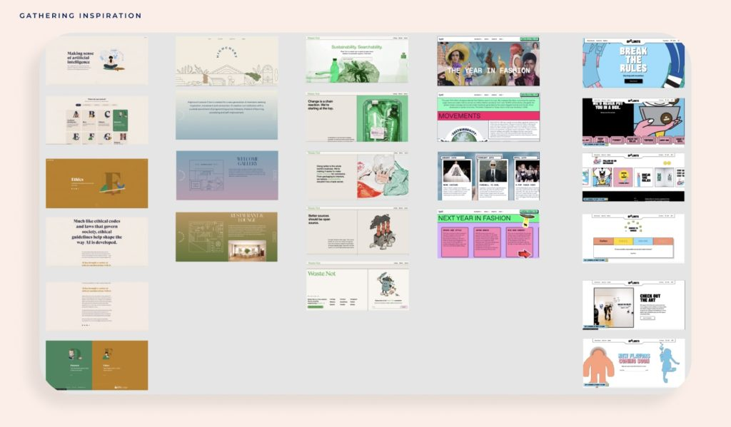 website inspiration images laid out on a column view