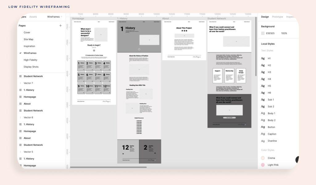 Screenshot of Figma workspace: low-fidelity wireframe