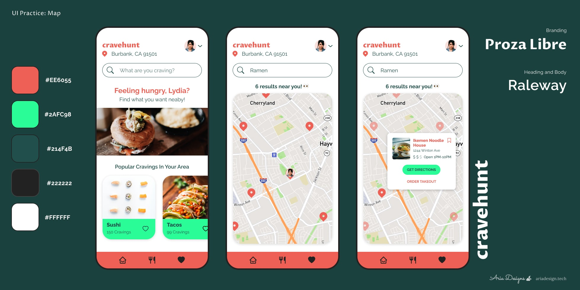 Cravehunt UI for a food discovery map