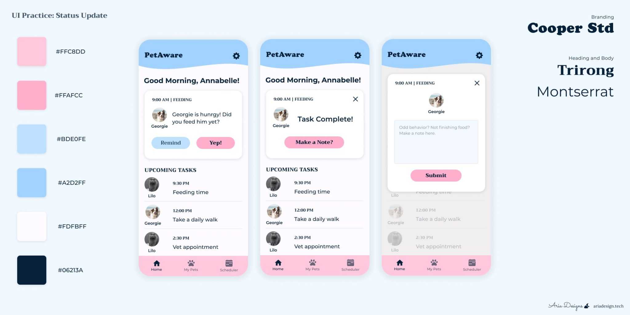 Petaware UI for helping schedule your pets events and reminders