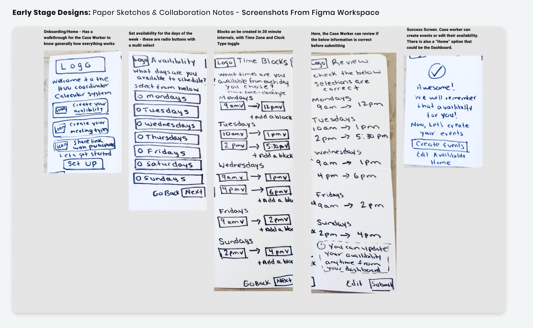 Early Stage Designs - Paper Sketches - Case Worker Preferences